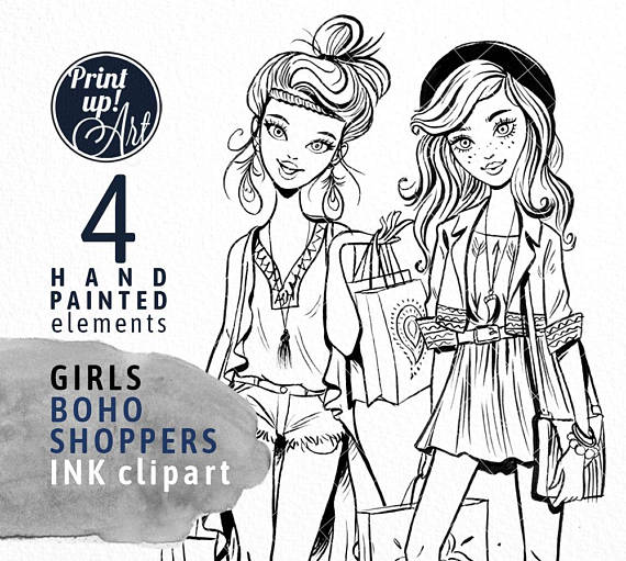 Boho clipart black and white. Shopper girl fashion watercolor