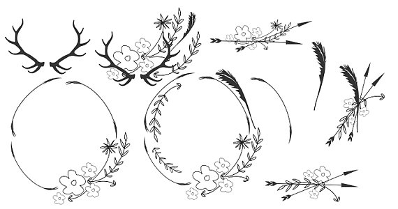 Minimalist wreaths leafy . Boho clipart black and white