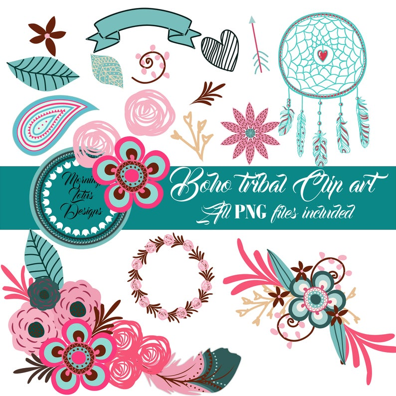 Feathers and flowers tipi. Boho clipart bohemian