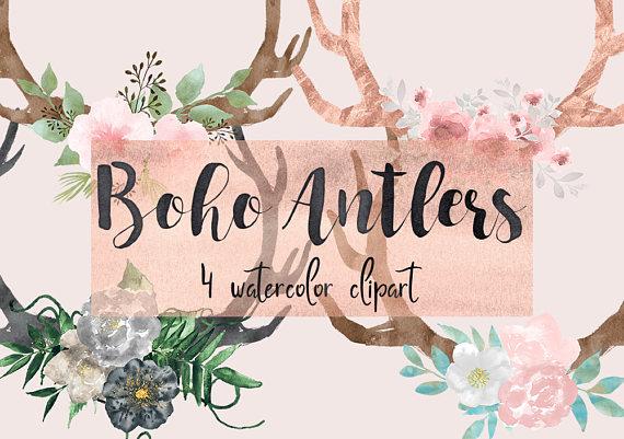 Boho clipart bohemian. Floral antlers deer watercolor