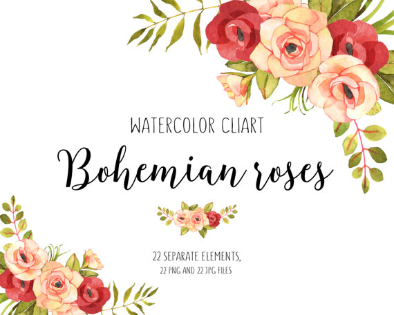 Flower floral roses watercolor. Boho clipart bohemian
