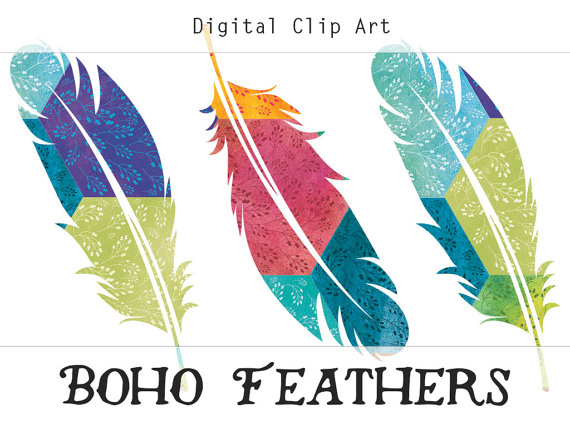 Items similar to feathers. Boho clipart bohemian