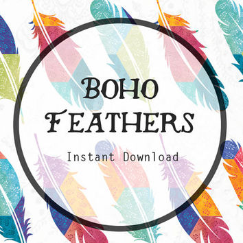 Boho clipart bohemian. Feathers digital from musingtreedesign