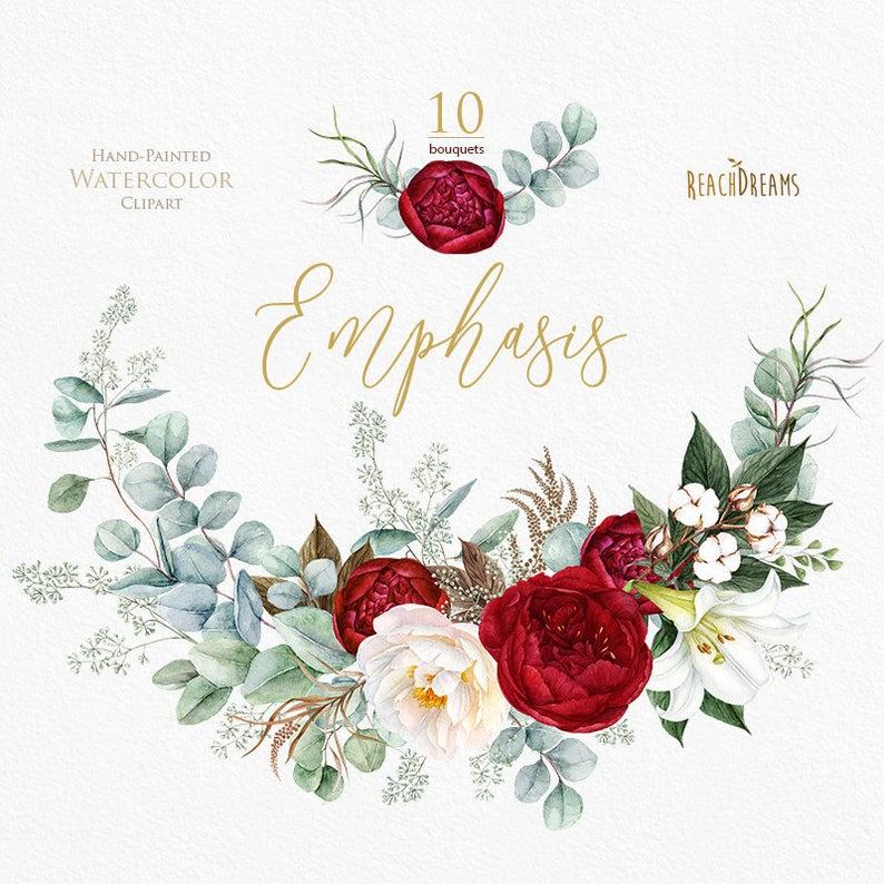 Watercolor peonies burgundy floral. Boho clipart bohemian wedding