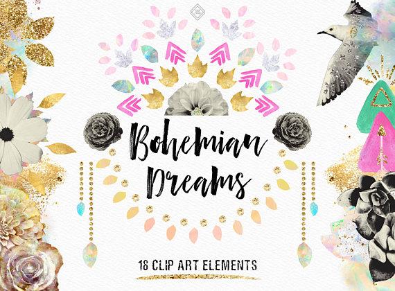 Boho clipart bohemian wedding. Tribal aztec flower floral
