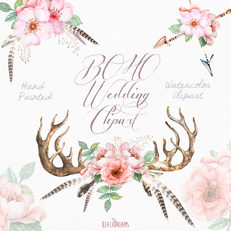 Watercolor clip art antlers. Boho clipart bohemian wedding