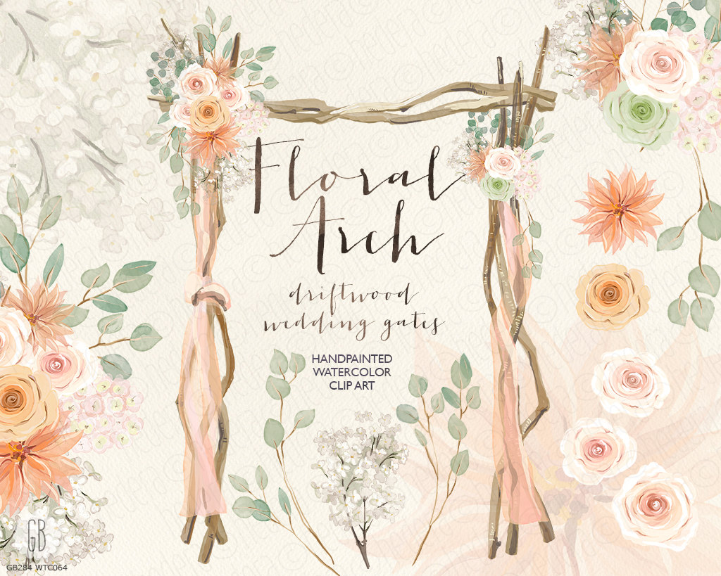 Boho clipart bohemian wedding. Watercolor floral arch driftwood