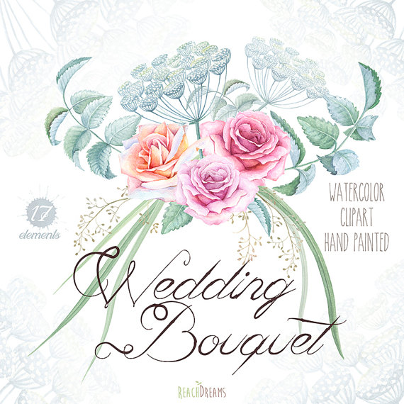 Boho clipart bohemian wedding. Watercolor bouquet roses flowers