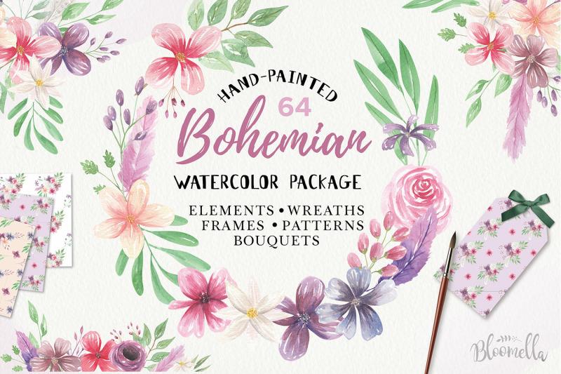 Watercolour floral flowers . Boho clipart bohemian wedding