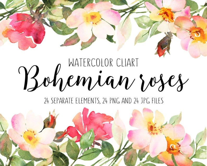 Flower roses hand painted. Boho clipart bohemian wedding