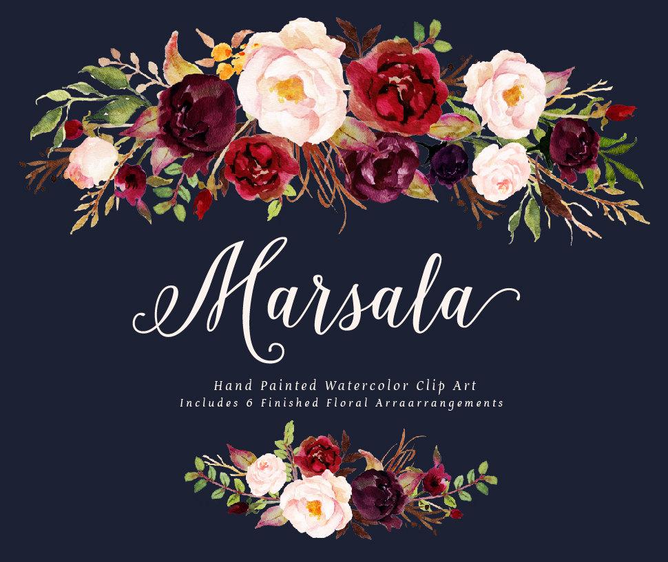 Watercolor floral clip art. Boho clipart bohemian wedding