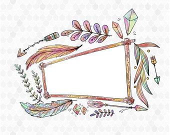 Arrow watercolor sign. Boho clipart bohemian