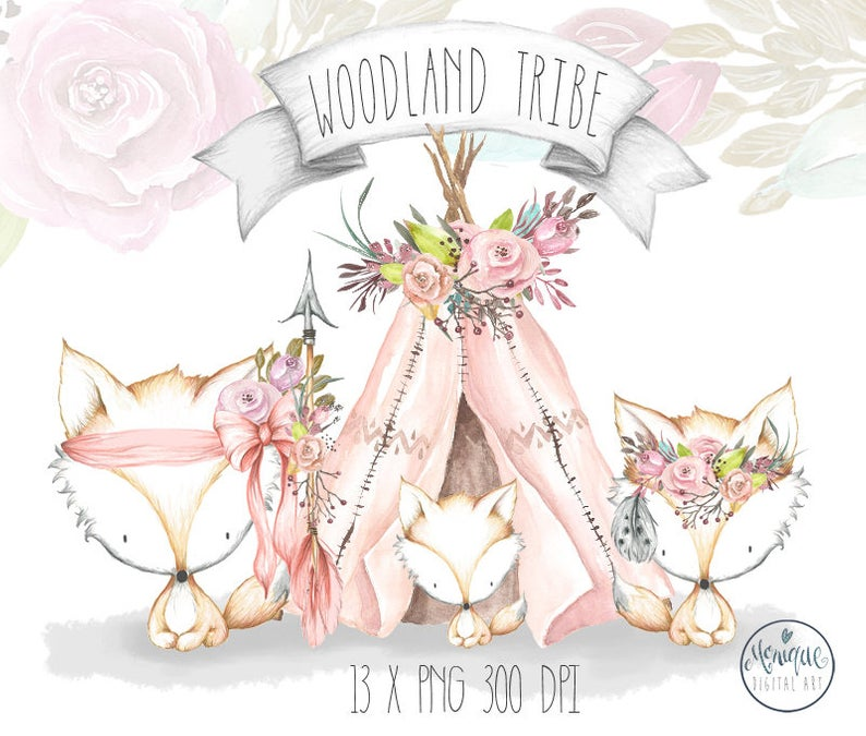 Boho clipart boho baby. Teepee watercolor feathers and