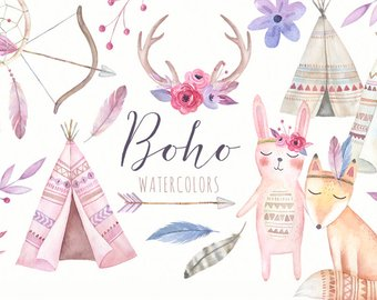 Boho clipart boho baby. Etsy watercolor tribal nursery