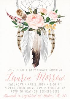 Dream catcher shower invitation. Boho clipart boho baby