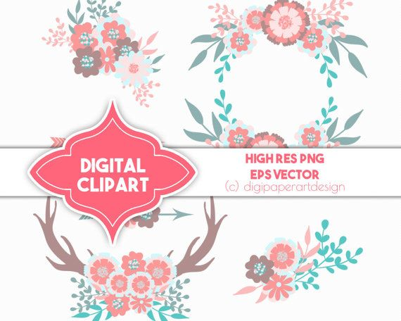 Boho clipart boho baby. Shower spring wreath by
