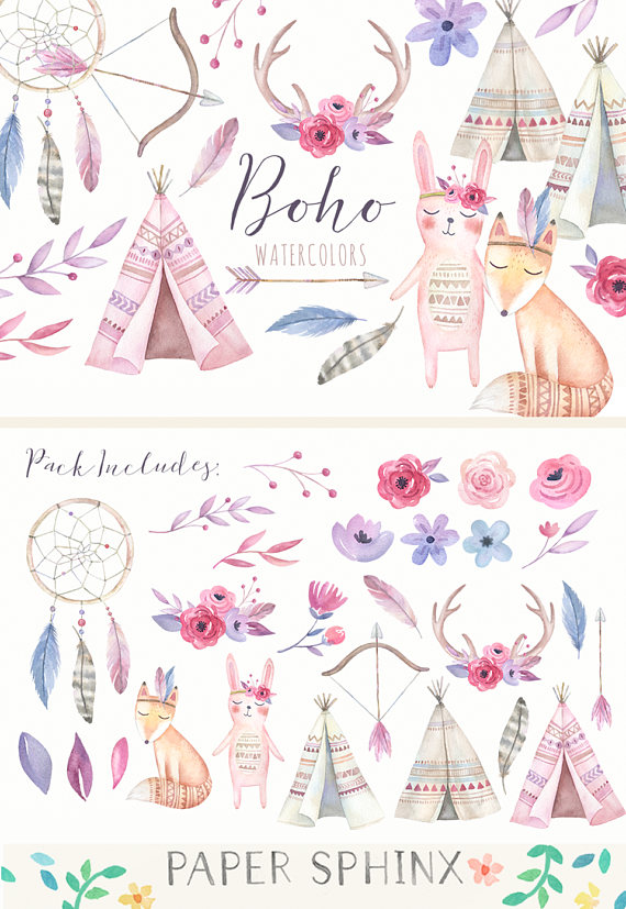 Boho clipart boho baby. Watercolor tribal nursery
