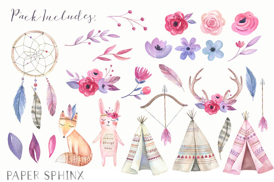 Boho clipart boho baby. Watercolor tribal nursery shower