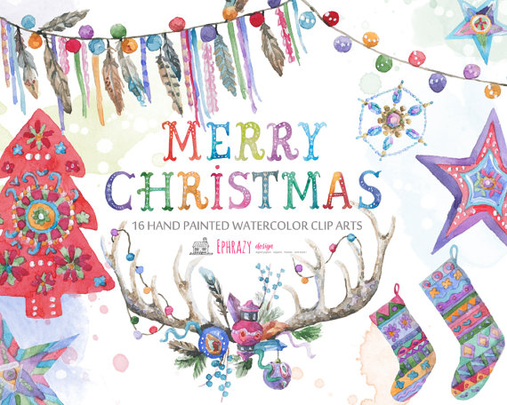 Watercolor christmas tree from. Boho clipart boho background