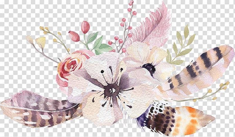 Gray and beige flower. Boho clipart boho background