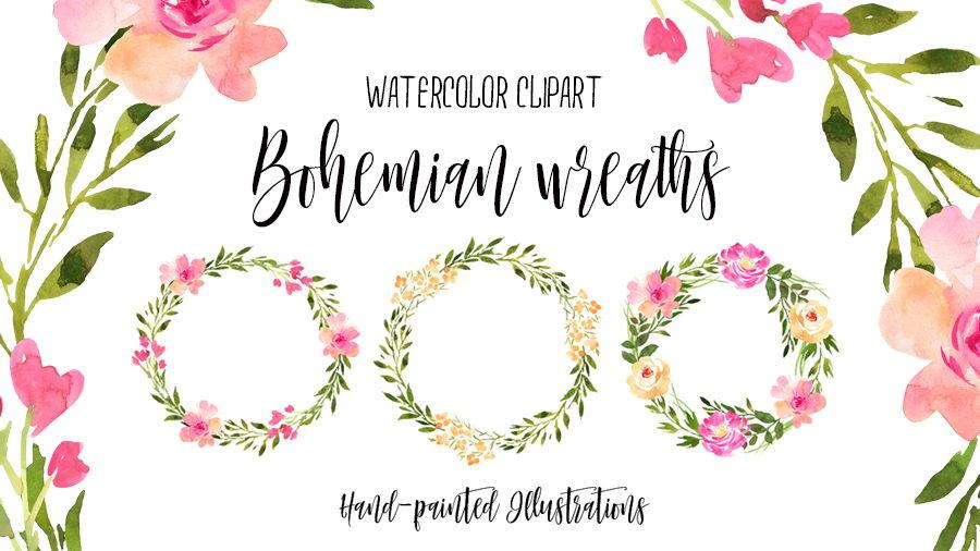 Boho clipart boho background. Watercolor bohemian wreaths pinspiry