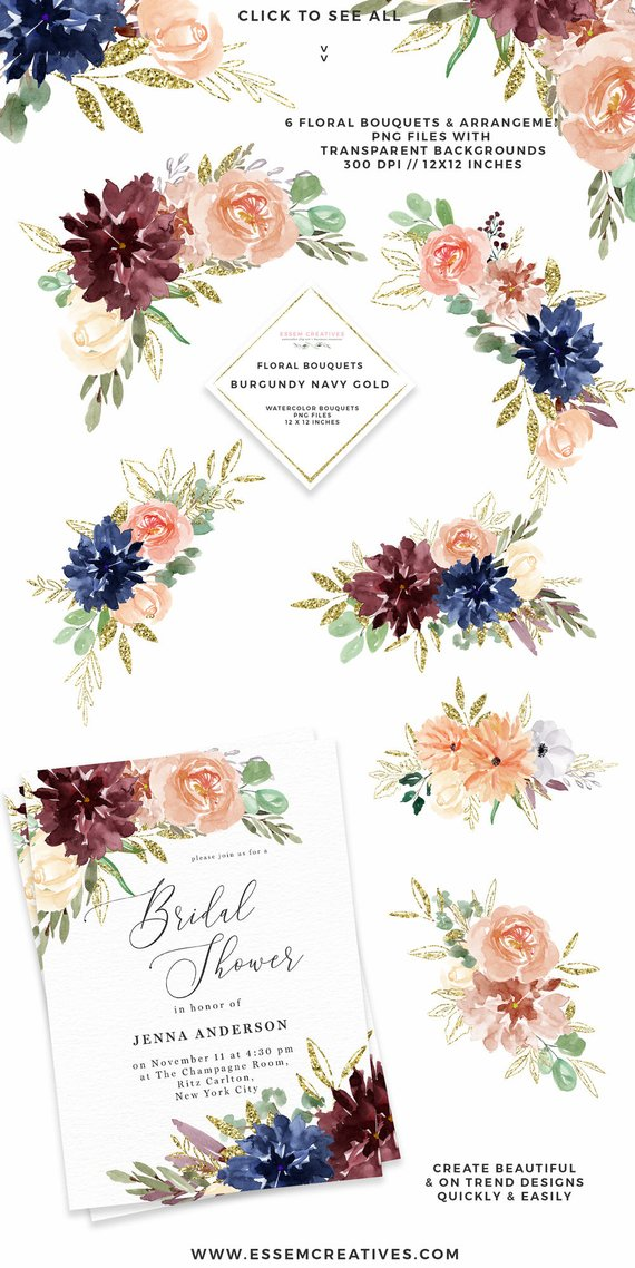 Boho clipart boho background. Watercolor flowers fall floral
