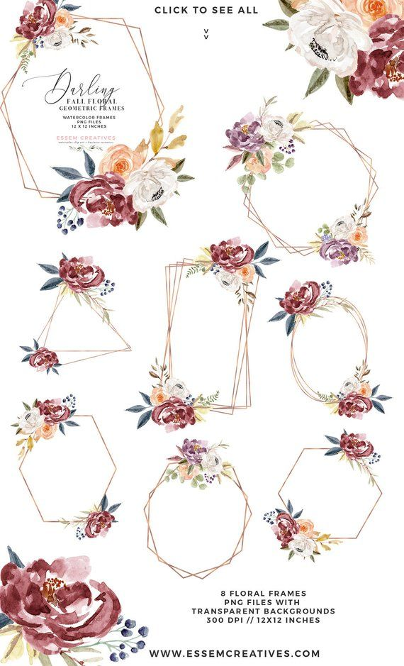 Boho clipart boho chic. Fall watercolor flowers floral