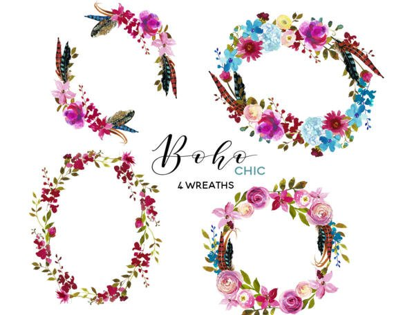 Boho clipart boho chic. Pink floral wreaths clip