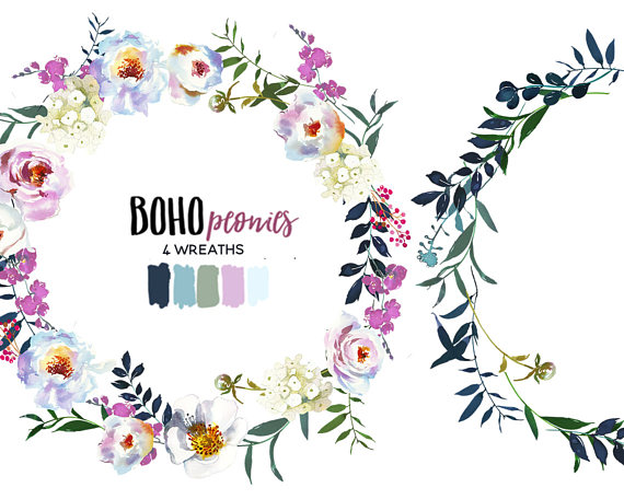 Boho clipart boho chic. Pink white peony floral