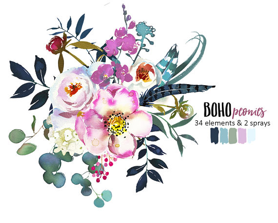White pink watercolor flowers. Boho clipart boho chic