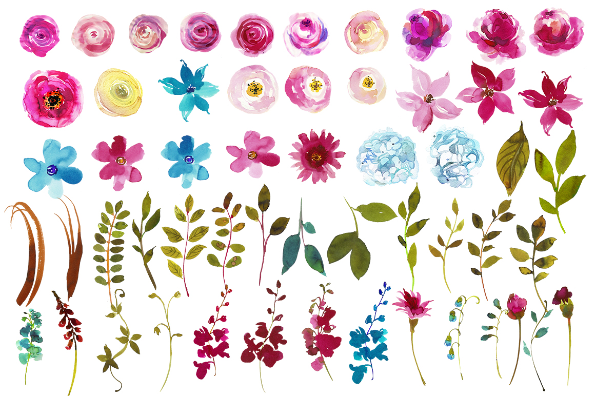 Boho clipart boho chic. Pink watercolor flowers by