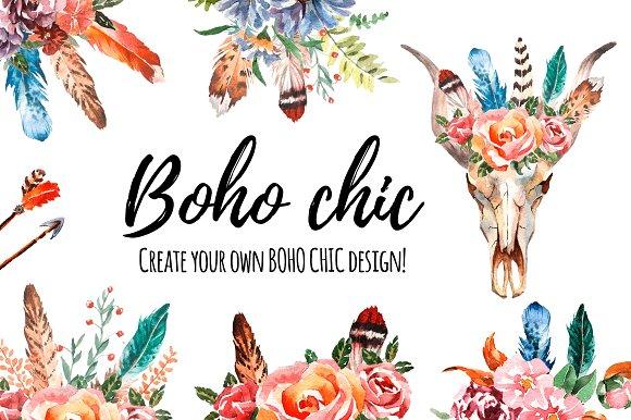 sets wild and. Boho clipart boho chic