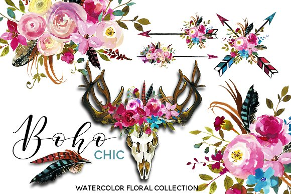 Boho clipart boho chic. Pink watercolor flowers illustrations