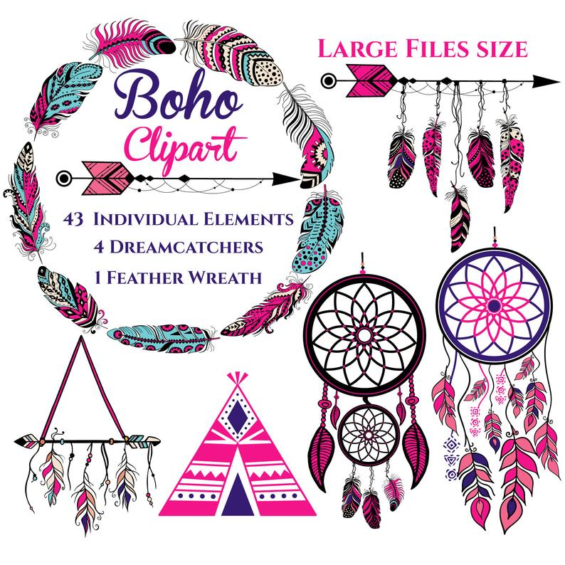 Dreamcatcher feathers native america. Boho clipart boho chic
