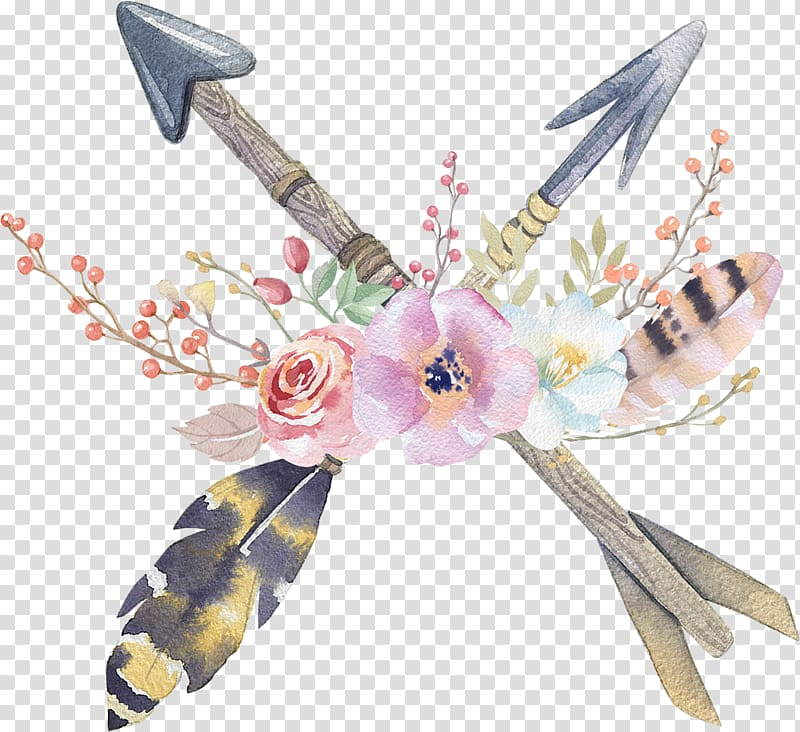 Boho clipart boho chic. Multicolored arrow with flowers