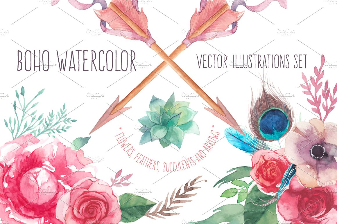 Watercolor illustrations creative market. Boho clipart boho design