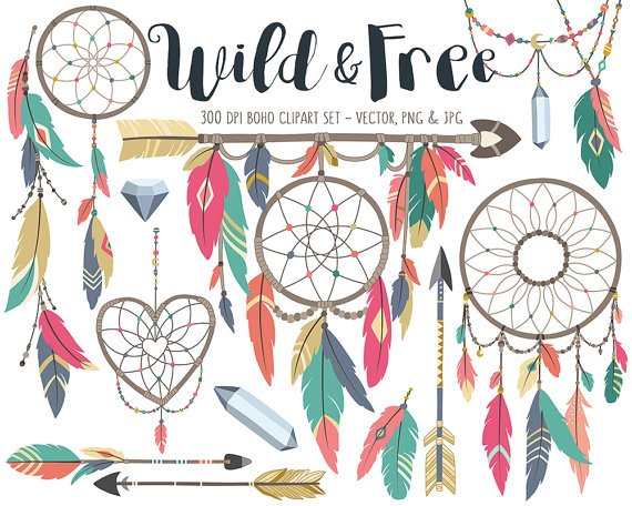 Boho clipart boho design. Tribal clip art set