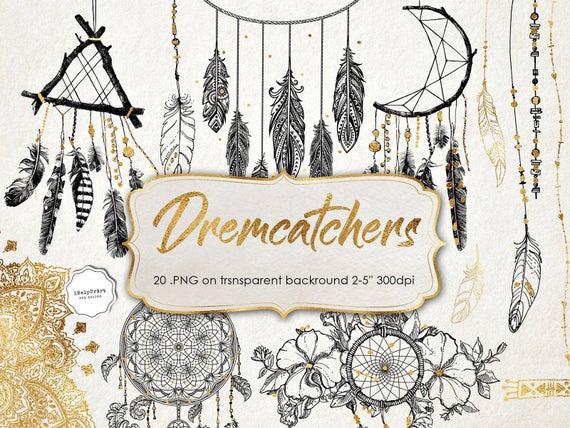 Dreamcatchers clip art black. Boho clipart boho design