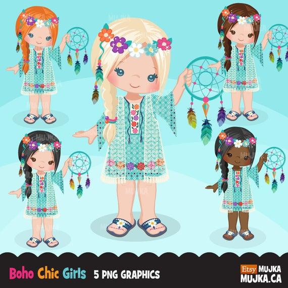 Boho clipart boho girl. Bohemian chic characters card