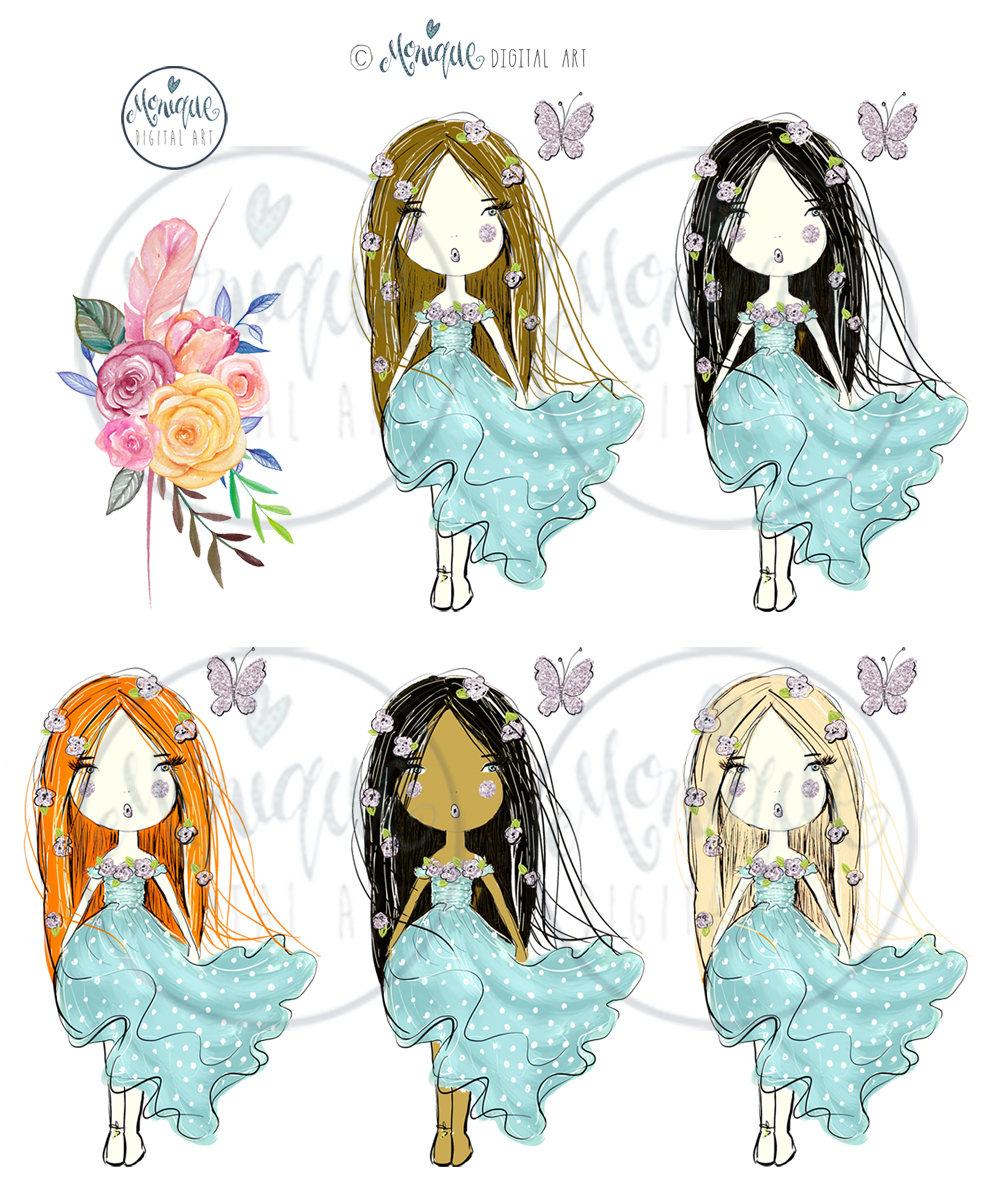 Boho clipart boho girl. Watercolor illustration glitter planner