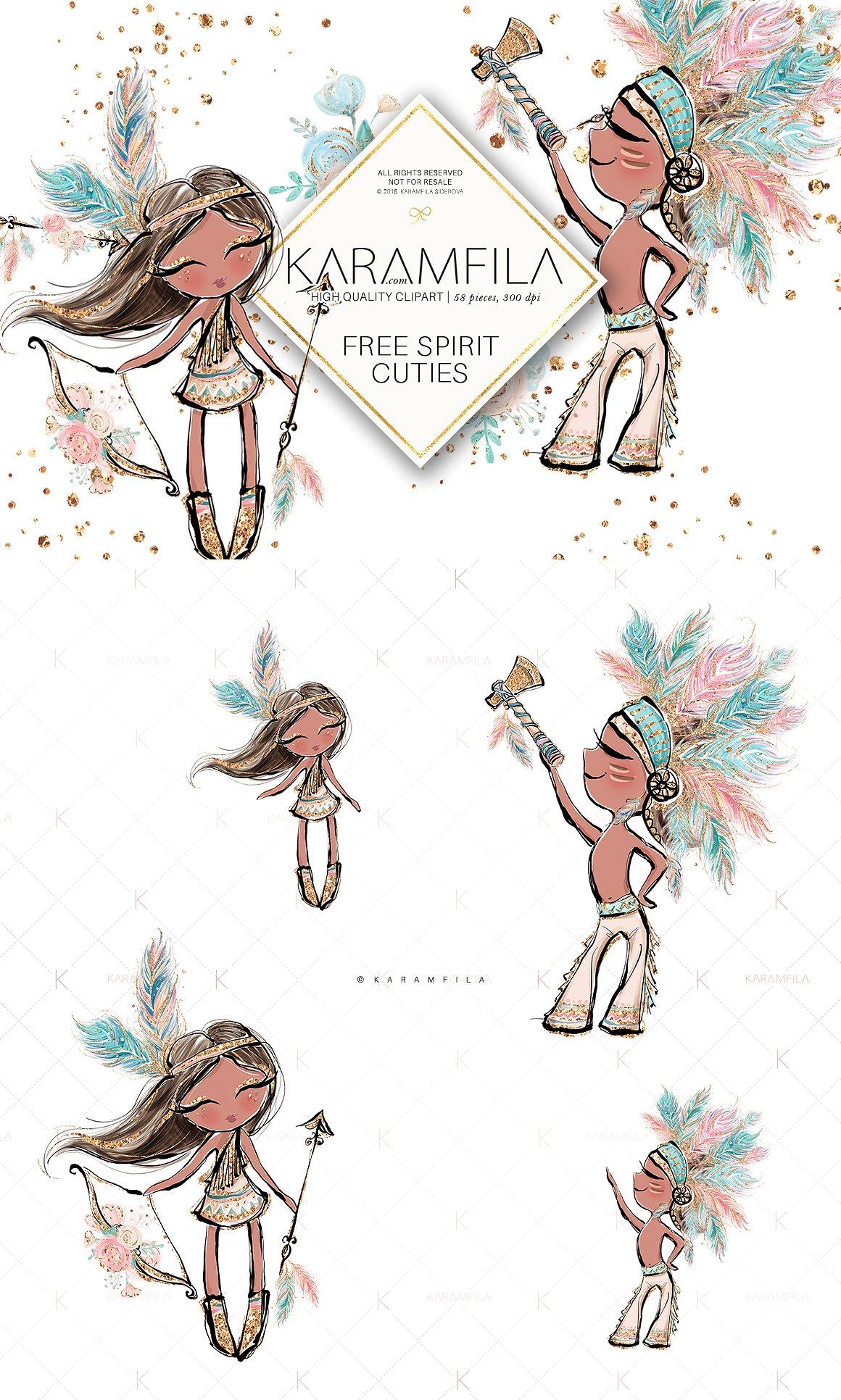Boho clipart boho girl. Kids illustrations creative market