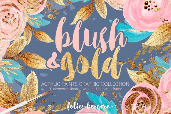 Boho clipart boho girl. Blush gold chic flower