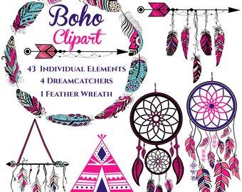 Etsy dreamcatcher feathers native. Boho clipart boho girl