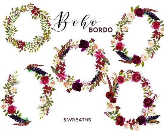 Burgundy floral chic wreaths. Boho clipart boho girl