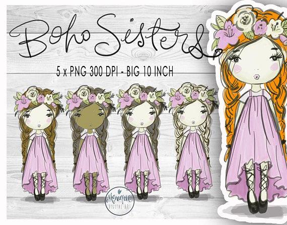 Boho clipart boho girl. Clip artwatercolor illustrationplanner