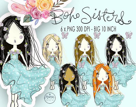 Watercolor illustration glitter planner. Boho clipart boho girl