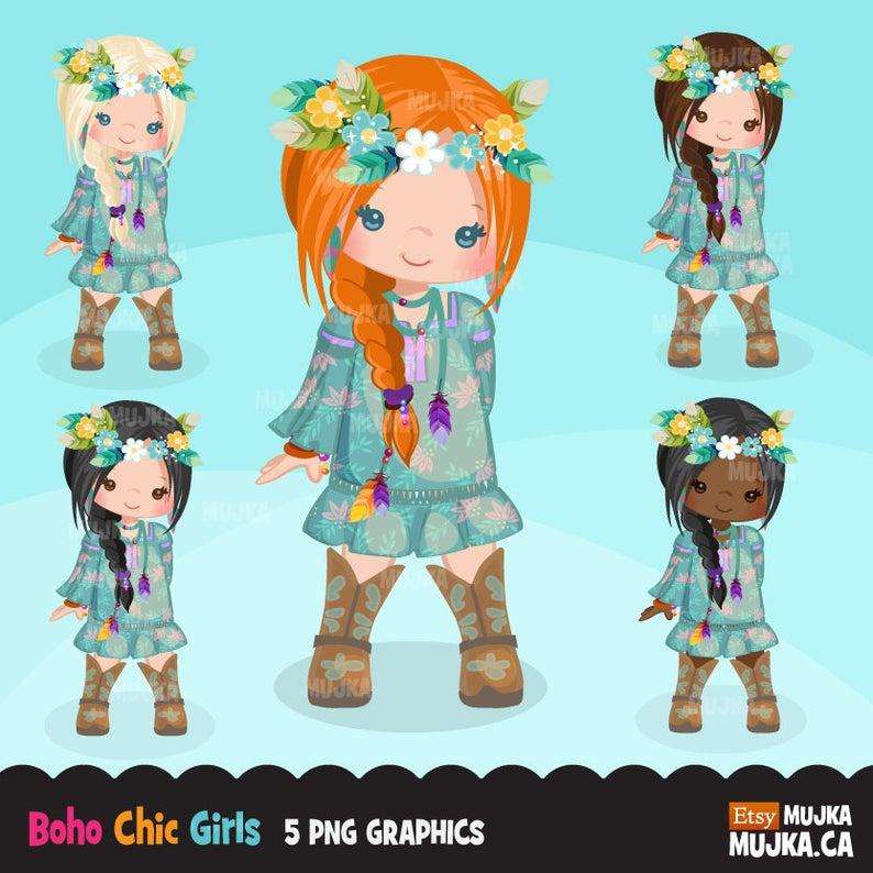 Bohemian chic characters card. Boho clipart boho girl