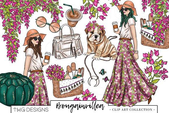 Fashion chic clip art. Boho clipart boho girl