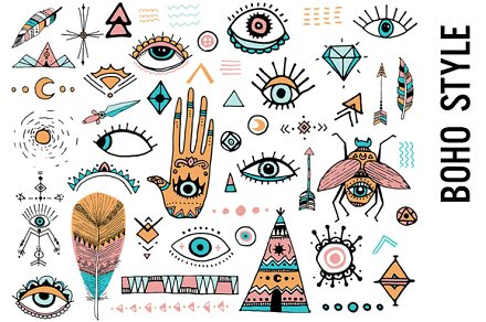 Doodle illustrations creative market. Boho clipart boho style