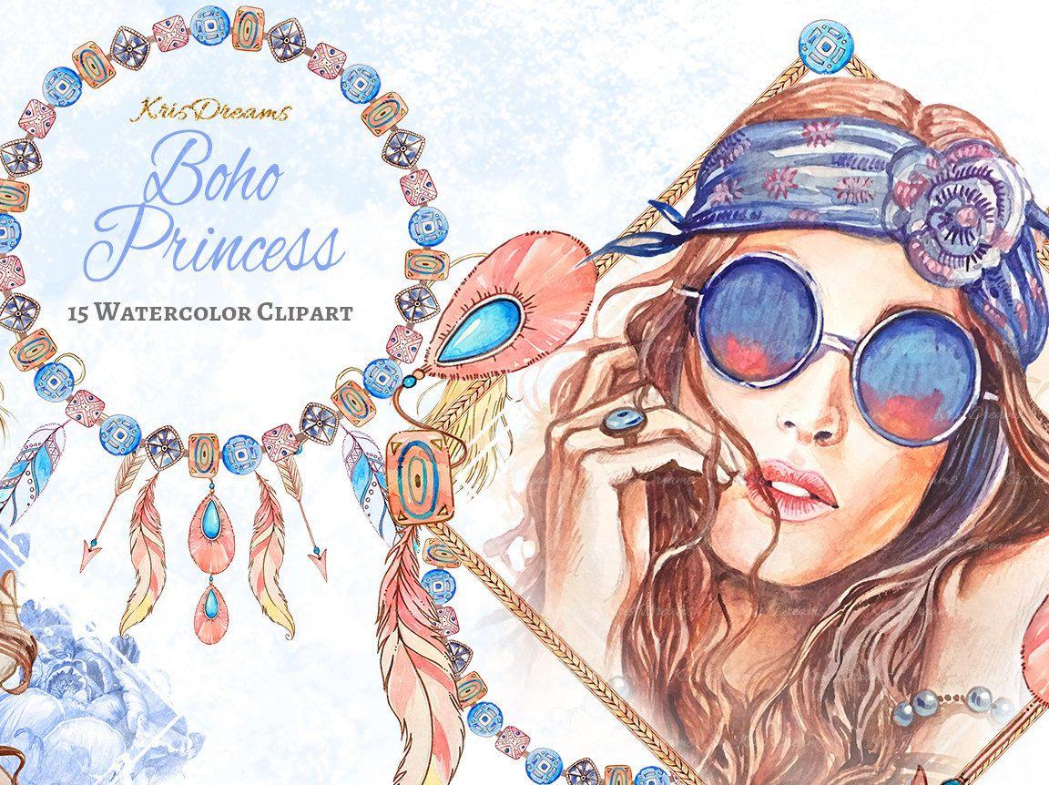 Boho clipart boho style.  fashion clip art